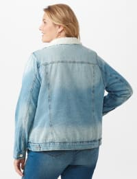 Denim Trucker Jacket with Sherpa Lining - Plus - Light wash - Back