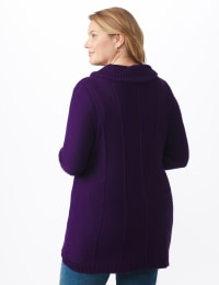 Cowl Neck Fit & Flare Sweater - Aubergine - Back