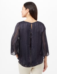 Roz & Ali Pin Dot Fly Away Back Blouse - Navy/whit - Back