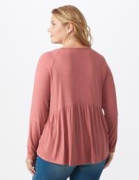 Pointelle V-Neck Knit Top - Plus - Mauve - Back