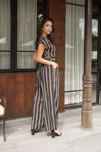 Topaz Stripe Jumpsuit - Black Stripe - Back