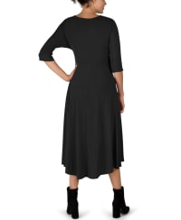 Tie Front Midi Dress Hi-Lo Hem- Misses - Black - Back