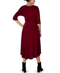 Tie Front Midi Dress Hi-Lo Hem- Misses - Wine - Back