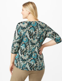 Westport Keyhole Tie Front Knit Top - Plus - Teal/Black - Back