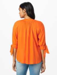 Westport Tie Sleeve Button Front Blouse - Burnt Ochre - Back