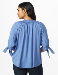 Westport Tie Sleeve Button Front Blouse - Bijoux Blue - Back