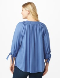 Westport Tie Sleeve Button Front Blouse - Plus - Bijou Blue - Back