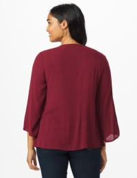 Westport Crochet Yoke Peasant Blouse - Burgundy - Back