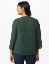 Westport Crochet Yoke Peasant Blouse - Spruce - Back