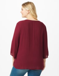 Westport Crochet Yoke Peasant Blouse - Plus - Burgundy - Back