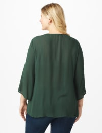 Westport Crochet Yoke Peasant Blouse - Plus - Spruce - Back