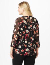 Roz & Ali Ditsy Floral Pintuck Popover - Plus - Black Multi - Back