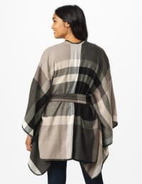 Plaid Belted Poncho - Black/Grey Combo - Back