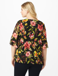 Westport Floral Mesh Ruffle Sleeve Top - Plus - Black Multi - Back