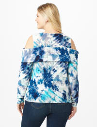 Tie Dye Thermal Cold Shoulder Top - Plus - Navy/Aqua - Back