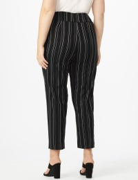 Plus Pull on Stripe millenium ankle pant - Plus - Black/Navy - Back