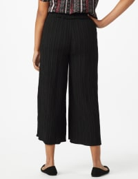 Cropped Palazzo Pant with Elastic Waistband - Misses - Black - Back