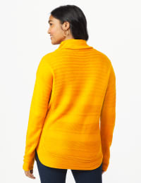 Westport Ottoman Stitch Curved Hem Sweater - Misses - Burnt Squash - Back