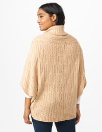 Westport Cable Poncho Sweater - Hazel - Back
