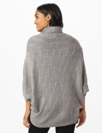 Westport Novelty Stitch Poncho Sweater - Flannel - Back