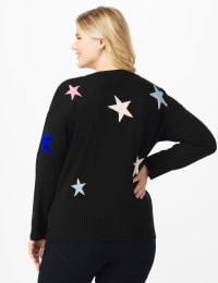 Roz & Ali Stars Pullover Sweater - Plus - Multi - Back