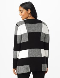 Roz & Ali Plaid Jacquard Sweater Cardigan - Black/White - Back