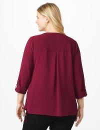 Roz & Ali Side Tie Popover Blouse - Burgundy - Back