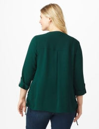 Roz & Ali Side Tie Popover Blouse - Hunter - Back