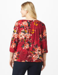 Roz & Ali Floral Glitter Bubble Hem Blouse - Plus - Burgundy - Back