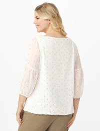 Roz & Ali Ivory Gold Foil Bubble Hem Blouse - Plus - Off white/Gold - Back