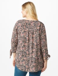 Dressbarn Paisley Woven Pintuck Popover - Plus - Black - Back