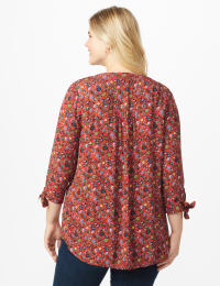 Ditsy Floral Pintuck Woven Popover - Plus - Rust - Back