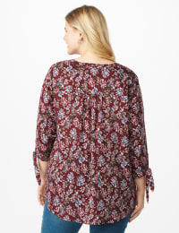 Westport Multi Color Floral Pintuck Popover  - Plus - Burgundy - Back