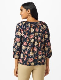 Roz & Ali Navy Floral Bubble Hem Blouse - Navy/Rose - Back