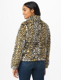 Faux Fur Zip Up Bomber Jacket - Animal - Back