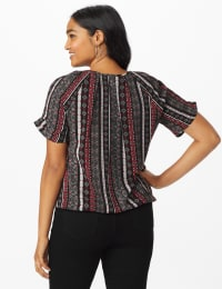 Roz & Ali Diamond Stripe Bubble Hem Blouse - Black/Ivory/Red - Back