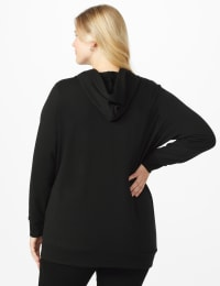 DB Sunday Grommet Zip Front Knit Cardigan - Plus - Black - Back