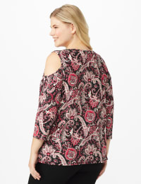 Westport Bohemian Print Cold Shoulder Knit Top - Plus - Burgundy/Pink - Back