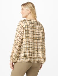 Plaid V  Neck Crepe Double Layer Blouse - Plus - White Swan Plaid - Back