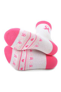 Breast Cancer Awareness Heart Socks - Pink - Back
