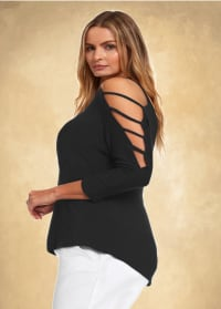 3/4 Sleeve Strappy Shoulder Knit Top - Plus - Black - Back