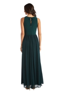 Maxi Dress with Keyhole Cutout, Halterneck and Flowing Skirt - Hunter - Back