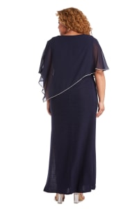 Rhinestone Poncho Metallic Stripe Dress - Plus - Navy - Back