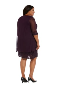 Beaded Lace Neckline with Cascade Jacket - Plus - Plum - Back