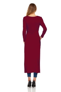 Front Slit Long Sleeve Shirt with Pockets - Burgundy - Back