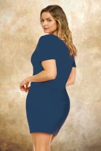 Ruched Side Midi Dress with Crisscross Detail - Plus - Denim - Back
