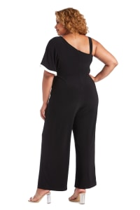 One Shoulder Drape Panel Jumpsuit With Contrast Detail - Plus - Black - Back