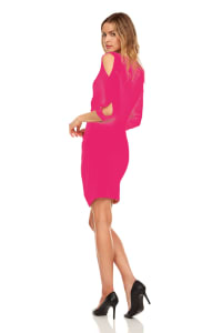 Cold Shoulder V-Neck Midi Dress - Fuschia - Back