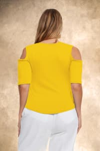 Cold Shoulder Strappy Tee - Plus - Yellow - Back