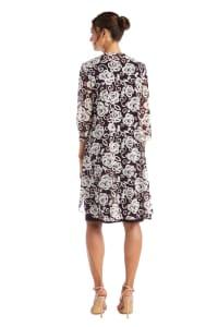 Puff Print Swing Jacket Dress - Plum - Back